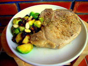 rosemary simmered pork chops with cranberry almond brussel sprouts _good photo