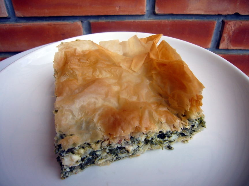 Crispy layers of phyllo filled with spinach