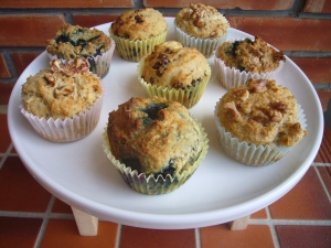 Banana & Blueberry Okara Muffins